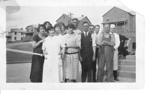 Union Supply Co. company store staff. Wilson Gordon is front center with tie and vest. The Wilson Gordon home is center back.
