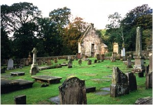 The ruins of St. Machan's Church and surrounding cemetery