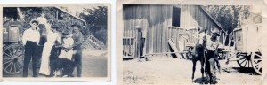 Farmhouse (left) with Freida and her future husband Arthur, Hazel, and Carl. Barn (right) and Henry.
