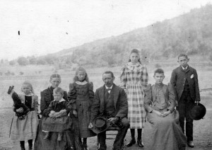 Taken at Searsville Lake, when it opened for water and recreation about 1893. Annie, Louisa holding Carl, Freida, Fritz, Margaret, Lou, Henry Meyer.