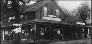 Woodside Store, built by Mathias Parkhurst and Dr. Robert Tripp in 1854. Photo courtesy of San Mateo County History Museum (http://www.historysmc.org/main.php?page=woodside)