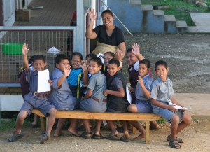 Photo by John Abel of an outdoor class in Tonga.